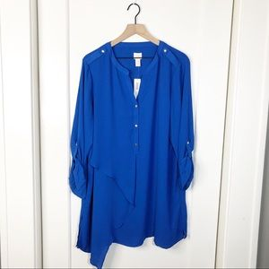 Chicos NWT Stylized Utility long tunic ls top XL